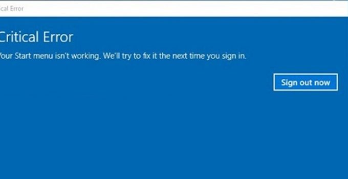 Windows 10 Start Menu not Working Error