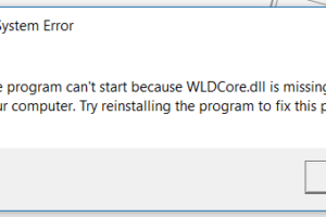 WLDCore.dll is Missing Error on Windows 10