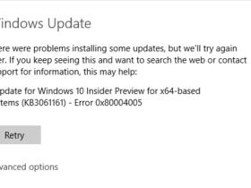 Windows Update Error Code 0x80004005